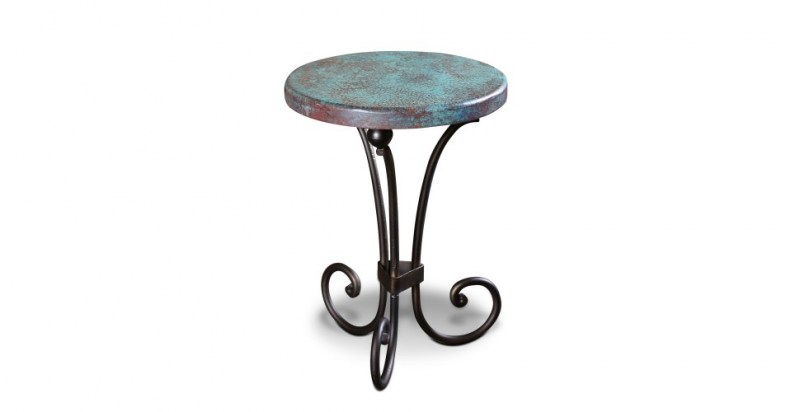 cordoba copper side table with turquoise