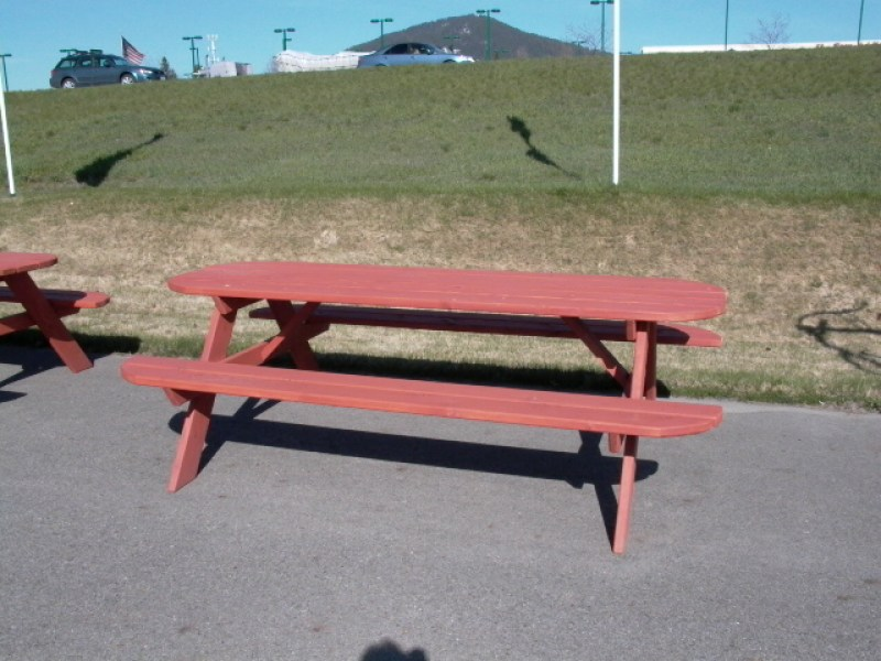 red-stain-picnic-table