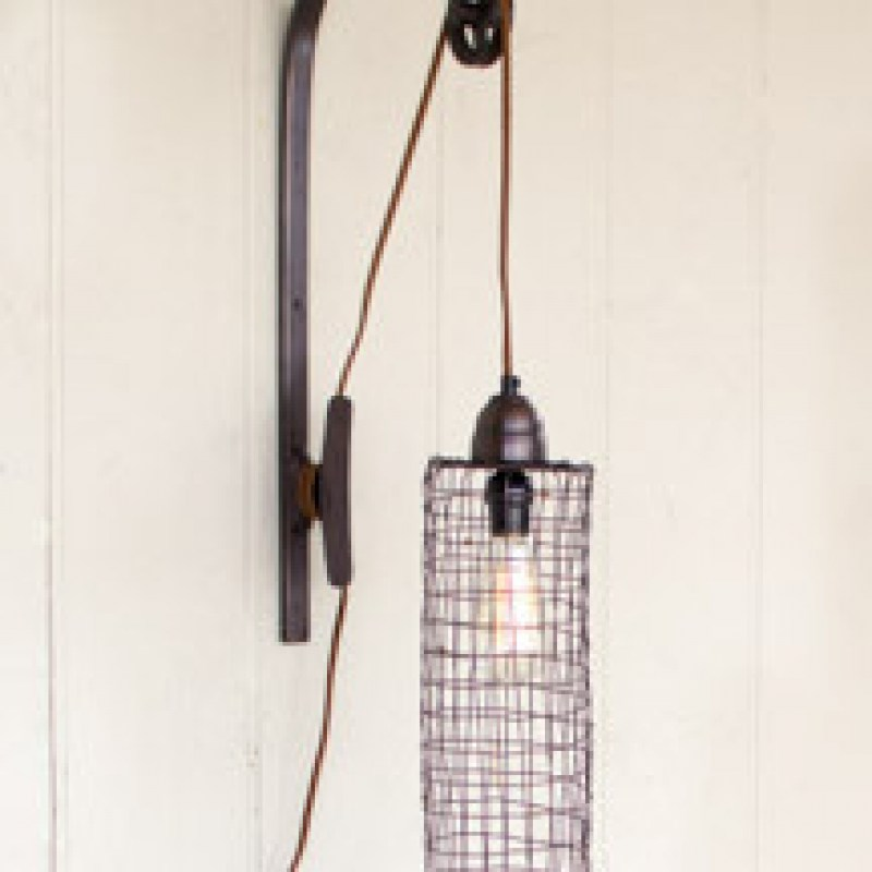 wire pulley lamp